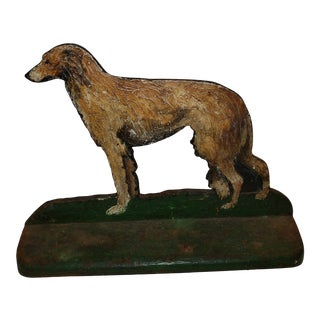 Antique Cast Iron Painted Flush Doorstop of Irish Wolfhound For Sale