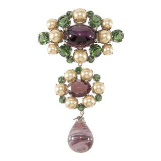 "Christian Dior Brooch Pin 4.25"" Purple & Green Glass Dangle 1960 Faux Pearls Vintage For Sale"
