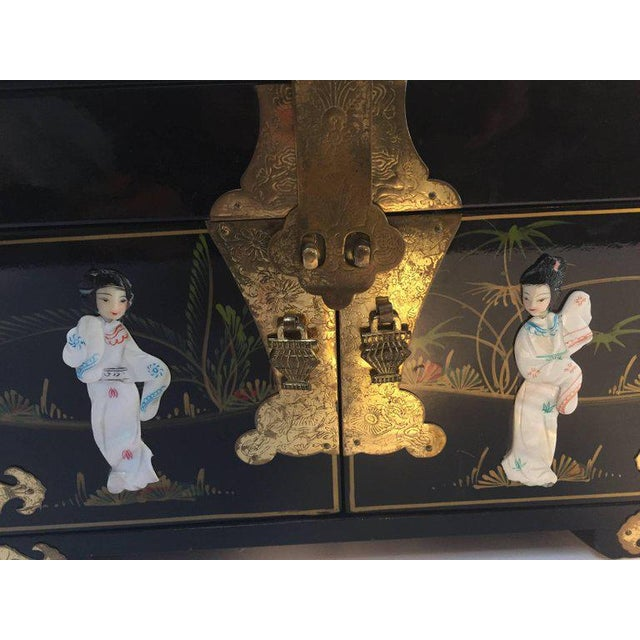 Brass Black Lacquered Chinese Jewelry Box With Mother-Of-Pearl Overlay For Sale - Image 7 of 10