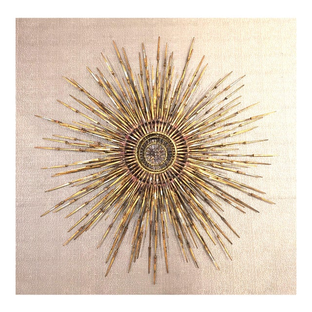 American Gilt Metal Wall Sunburst by William Bowie For Sale