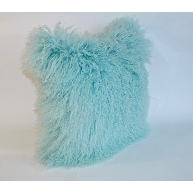 Caribbean Blue Curly Lamb Pillow For Sale - Image 4 of 5