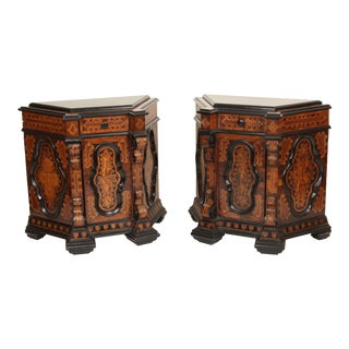 19th Century Baroque Style Inlaid and Ebonized Cabinets - a Pair For Sale