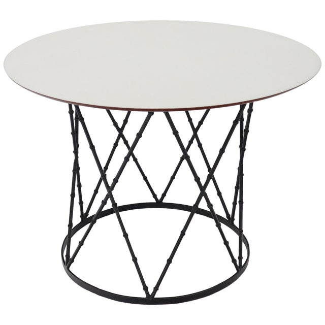 Enameled Top Faux Bamboo Base Mid-Century Modern Dining Dinette Table For Sale - Image 11 of 11