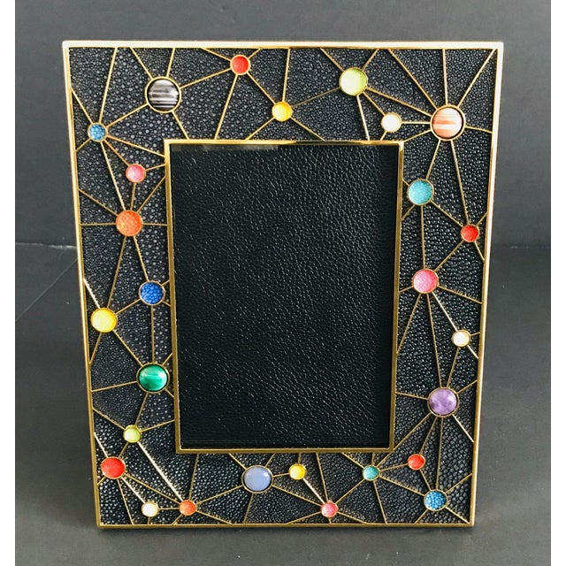 Black shagreen with multi-color stones and gold-plated picture frame by Fabio Ltd Height: 10.5 inches / Width: 8.5 inches...