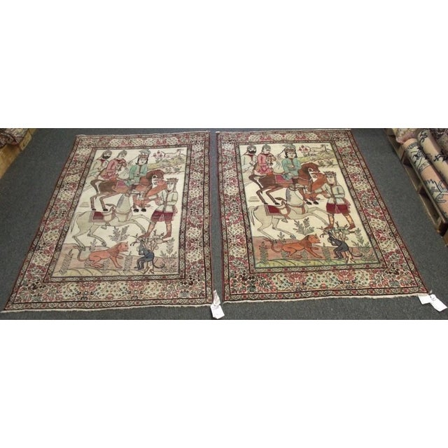 Late 19th Century Antique Handmade Pictorial Rugs - a Pair For Sale - Image 13 of 13