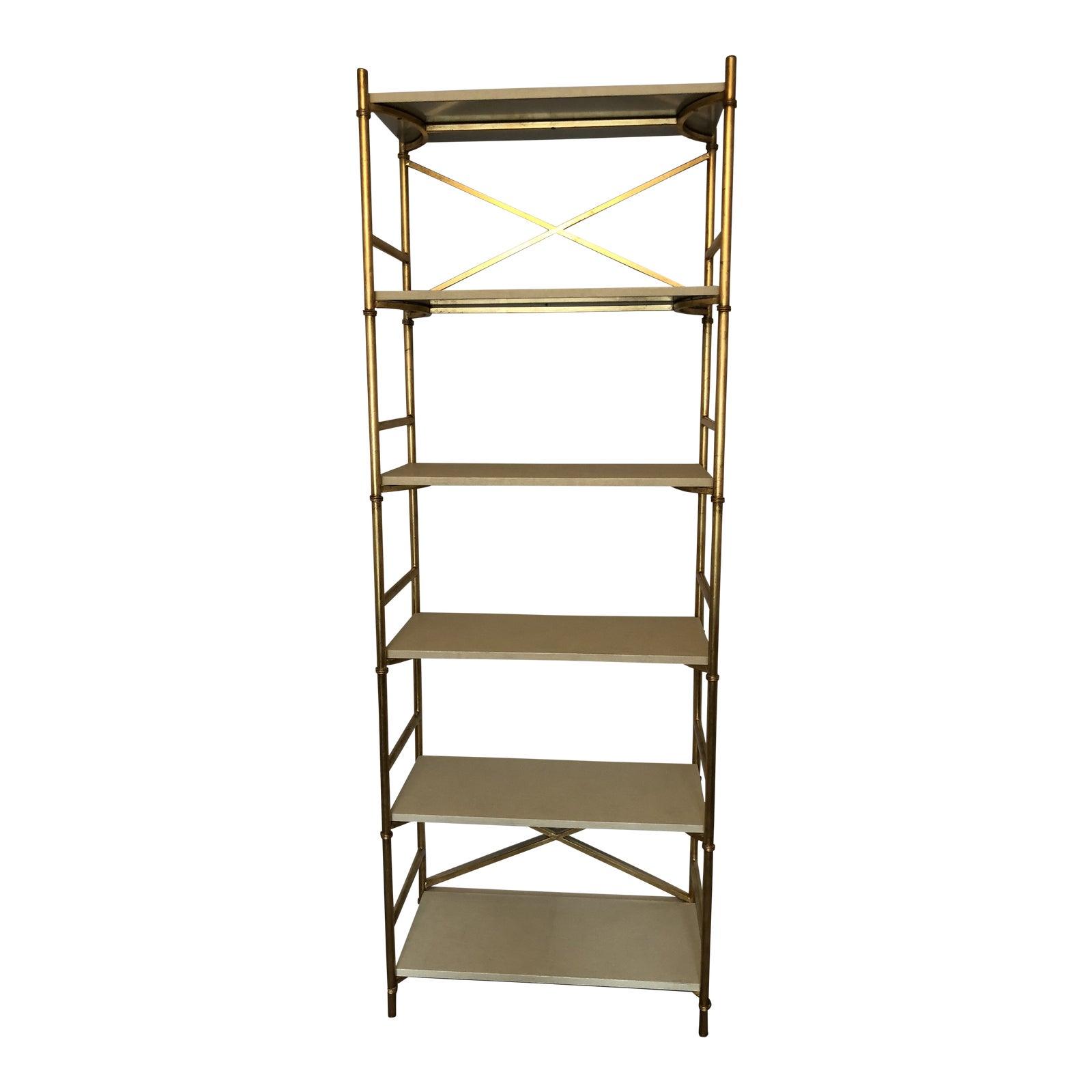 Made goods gold ivory shagreen 6 shelf bookcase chairish