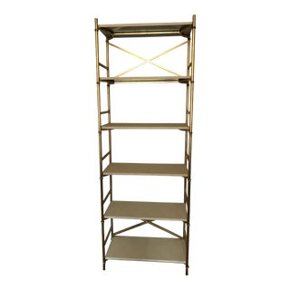 Made Goods Gold Ivory Shagreen 6-Shelf Bookcase For Sale