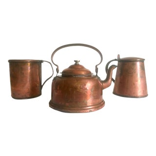 Antique 19th Century French Country Hand Forged Rustic Copper Cookware - Set of 3 For Sale