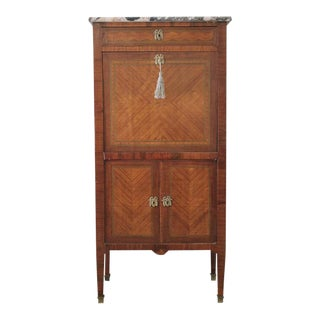 19th Century French Marble Top Abattant Secretaire For Sale
