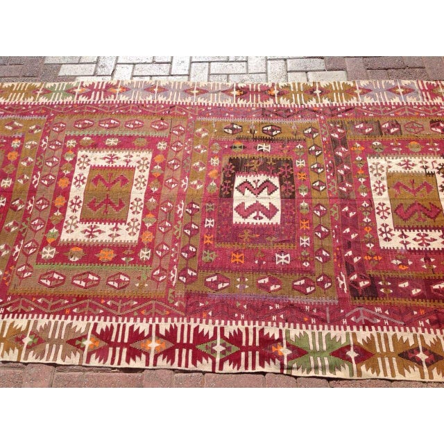 "Islamic Vintage Turkish Kilim Runner - 4'8"" x 11'4"" For Sale - Image 3 of 6"