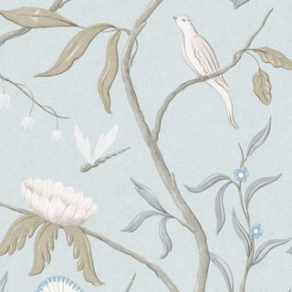 "Adam's Eden Snowbird Extra Wide 51"" Botanic Style Wallpaper Sample For Sale"