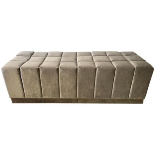 Harvey Probber Style Biscuit Tufted Grey Velvet and Steel Bench or Ottoman For Sale