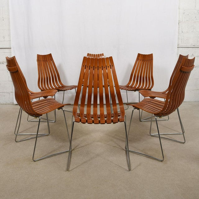 """Bentwood Set of 8 Norwegian Modern """"Scandia"""" Teak Dining Chairs by Hans Brattrud For Sale - Image 7 of 8"""