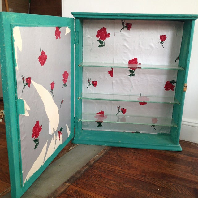 Teal Mirrored Medicine Cabinet, Storage Cabinet - Image 4 of 8