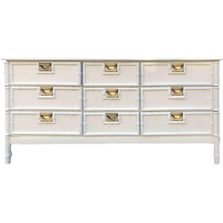 Mid Century Hollywood Regency Faux Bamboo Dresser in White For Sale