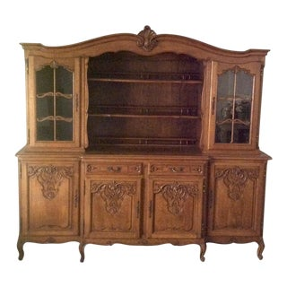 French Provincial Carved Oak China Cabinet For Sale