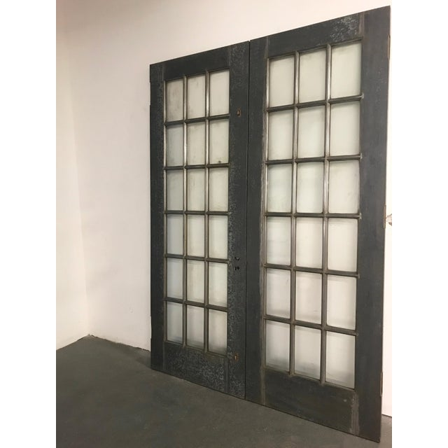 Industrial Industrial Tall Brushed Steel and Glass Doors For Sale - Image 3 of 12