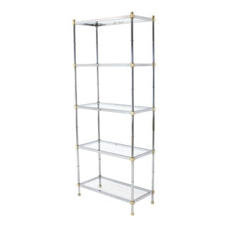 Brass Chrome Glass Tall Etagere For Sale