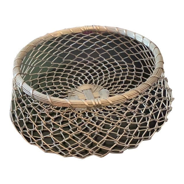 Vintage French Silver Plated Woven Wire Wrapped Basket For Sale