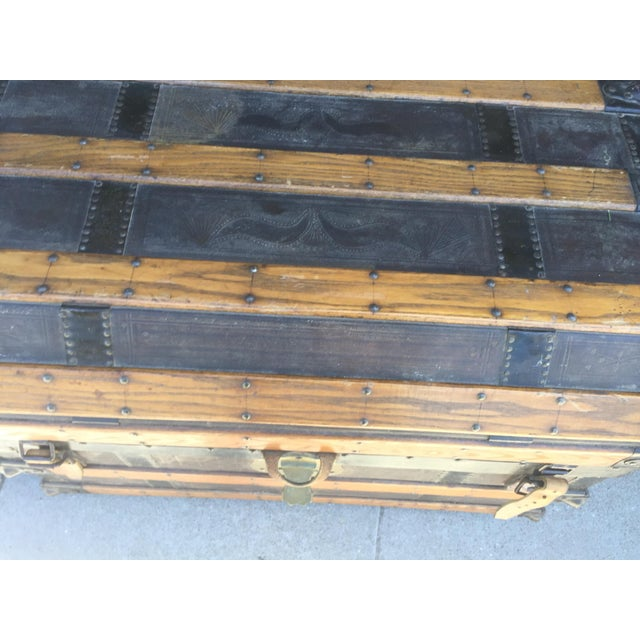 Antique iron and leather trunk dated 1870 , in overall excellent condition , the handles on the sides are broken and no...