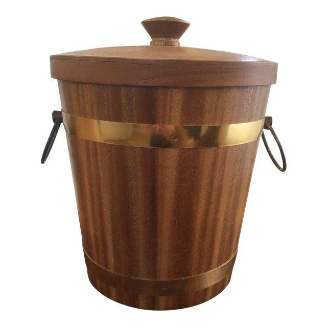 Teak and Brass Mid-Century Ice Bucket - Image 1 of 5