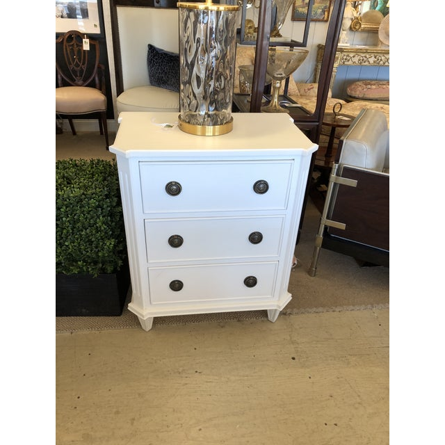 White White Painted Chest of Drawers Nightstand For Sale - Image 8 of 10