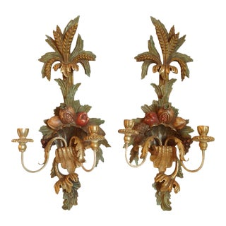 Pair of Italian Carved Wood Sconces For Sale
