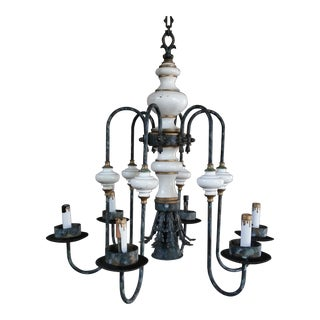 Antique French Turned Wood and Metal Chandelier For Sale