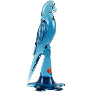 Vintage Mid Century Archimede Seguso Murano Blue Italian Glass Parrot Bird Figurine For Sale
