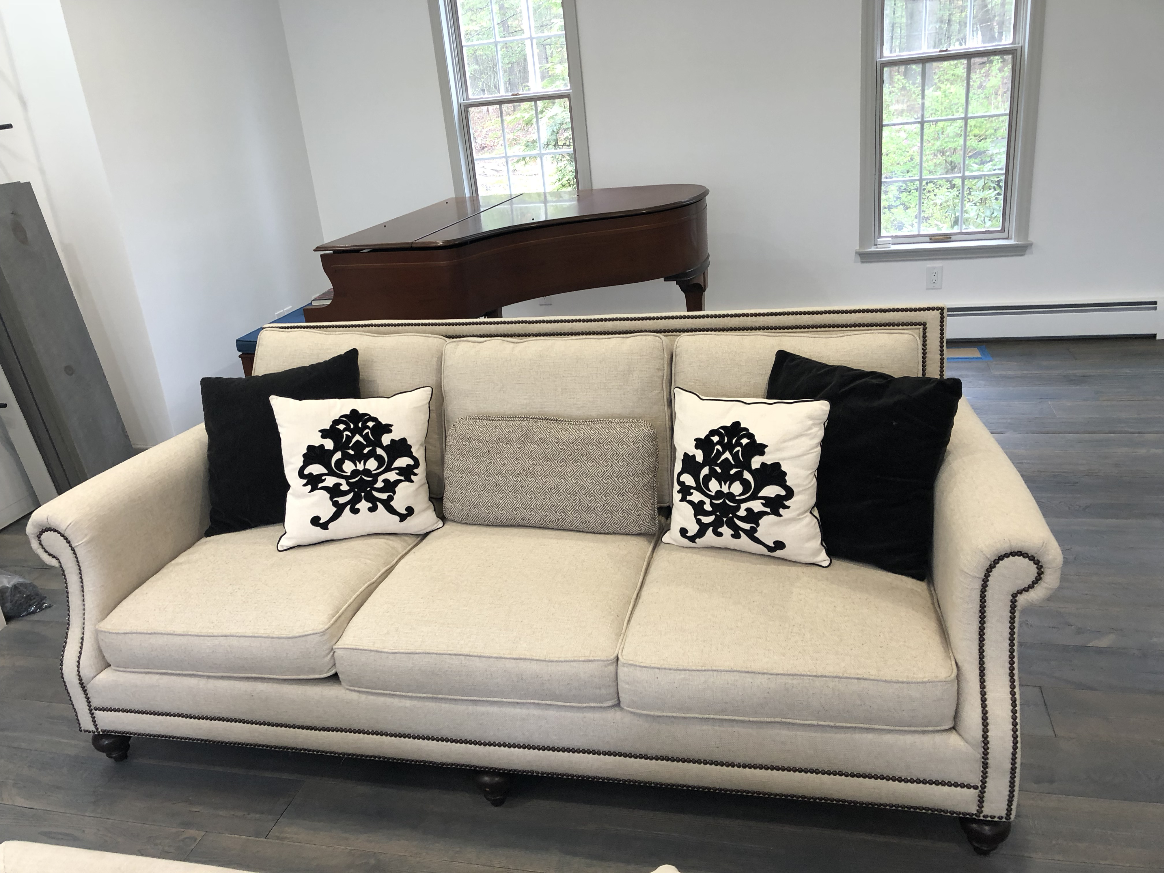 Fabric Safavieh Brae Nailhead Trim Sofa For Sale   Image 7 Of 12