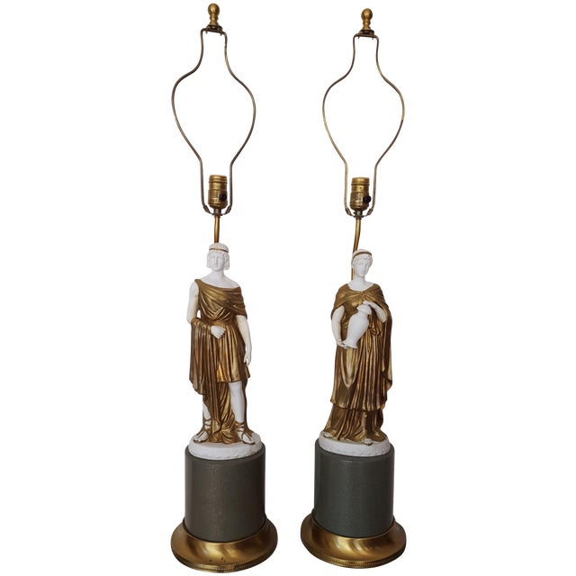 1960 Gilded Bisque Roman Figural Lamps - Pair - Image 1 of 7