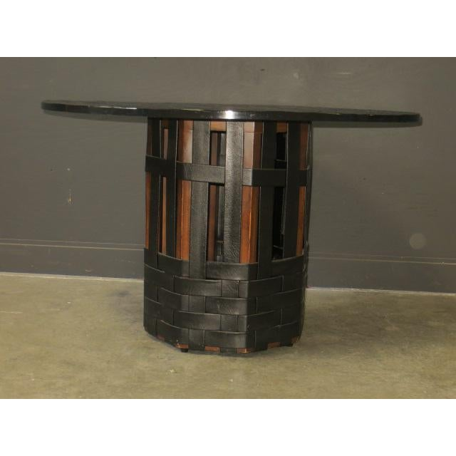 Mid Century Modern Faux Slate Dining Table With Leather Banding For Sale - Image 4 of 13