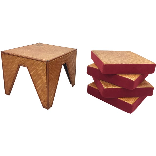 Vintage Woven Side Table & Stacking Ottomans - Set of 5 - Image 1 of 7