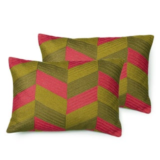 Green Olive, Pink, and Bronze Geometric Pillows, Lowery - A Pair