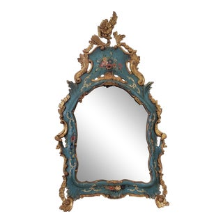 Rare 18th C Venetian Rococo Painted & Gilt Wood Mirror With Original Oxidized Mercury Glass. For Sale