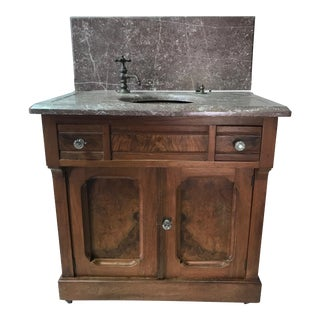 Walnut Bath Vanity With Painted Sink For Sale