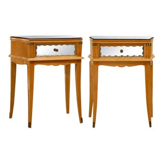 Pair of Blonde Art Deco End/Side Tables with Mirror and Brass Accents For Sale