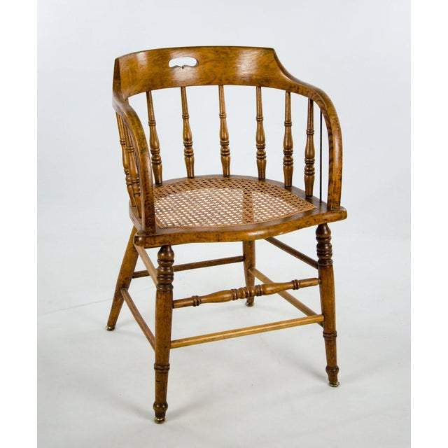 Late 19th Century American Windsor Style Barrel Back Oak and Caned Side Chairs- A Pair For Sale - Image 4 of 13