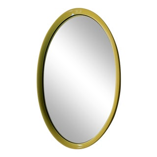 Vintage Yellow Mid Century Modern Oval Wall Mirror For Sale