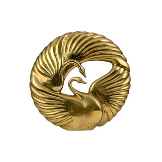 "Vintage 1980s 18"" Dolbi Cashier Brass Swan Sculpture For Sale"