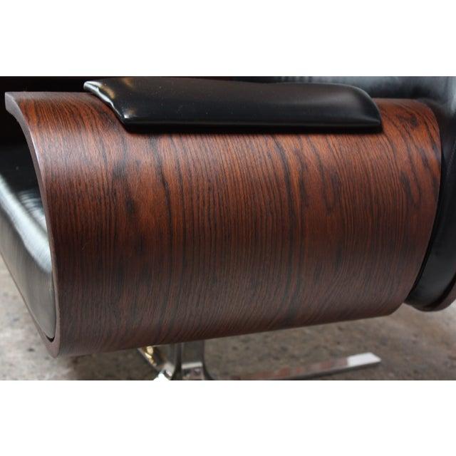 Silver Brazilian Modern Jacaranda and Leather Swiveling Lounge Chair by Jorge Zalszupin For Sale - Image 8 of 13