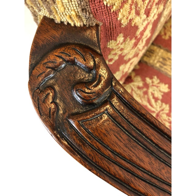 Carved Mahogany and Chenille Upholstered Armchairs - a Pair For Sale - Image 10 of 13