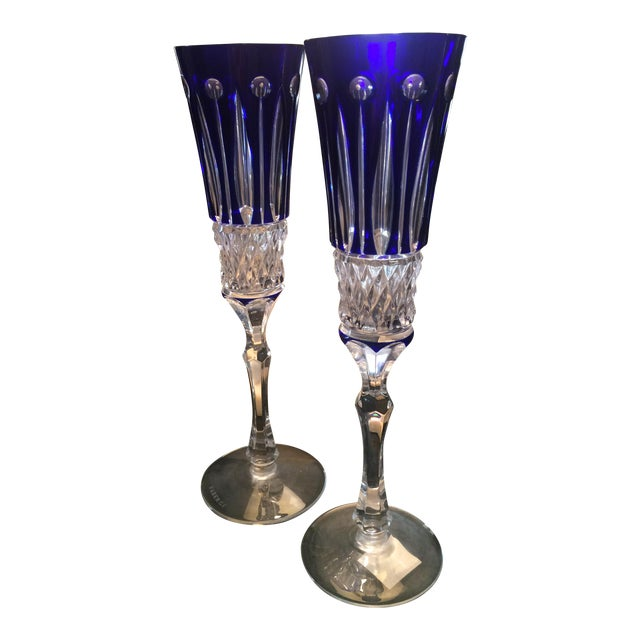 Faberge Xenia Cobalt Blue Champagne Flutes - A Pair For Sale