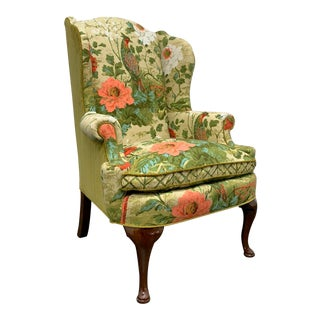 Henredon Avian & Foliate Themed Queen Anne Wing Back Chair For Sale