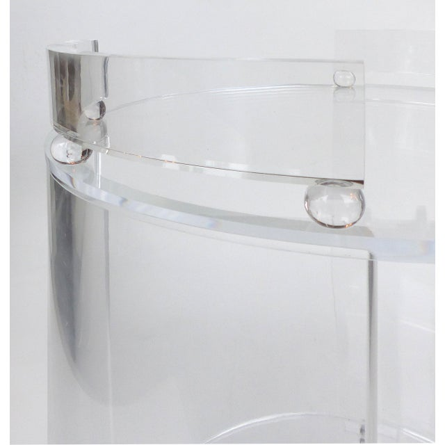 2010s Tall Round Custom Lucite & Glass Bar Cart on Casters For Sale - Image 5 of 8