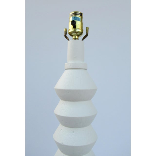 Mid-Century Plaster Zig-Zag Tiered Lamp For Sale - Image 4 of 13