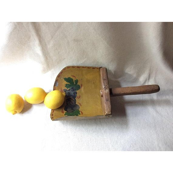 Mustard Antique French Farmhouse Style Toleware Grain Scoop For Sale - Image 8 of 9