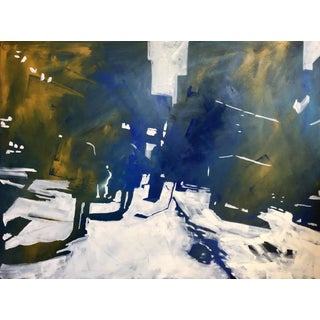"""Dale Najarian """"Fifth Avenue"""" Abstract Cityscape Figurative Shadows Oil Painting For Sale"""