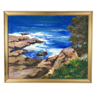 Vintage California Seascape Oil Painting on Canvas Signed Jose Ortiz For Sale