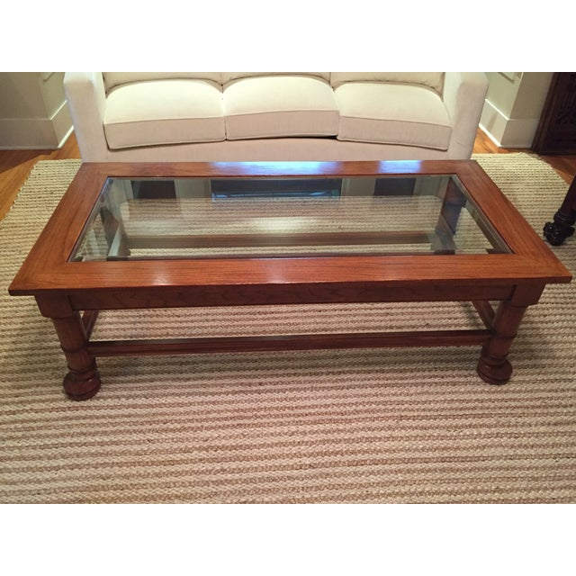 Traditional Wood & Glass Coffee Table - Image 2 of 8